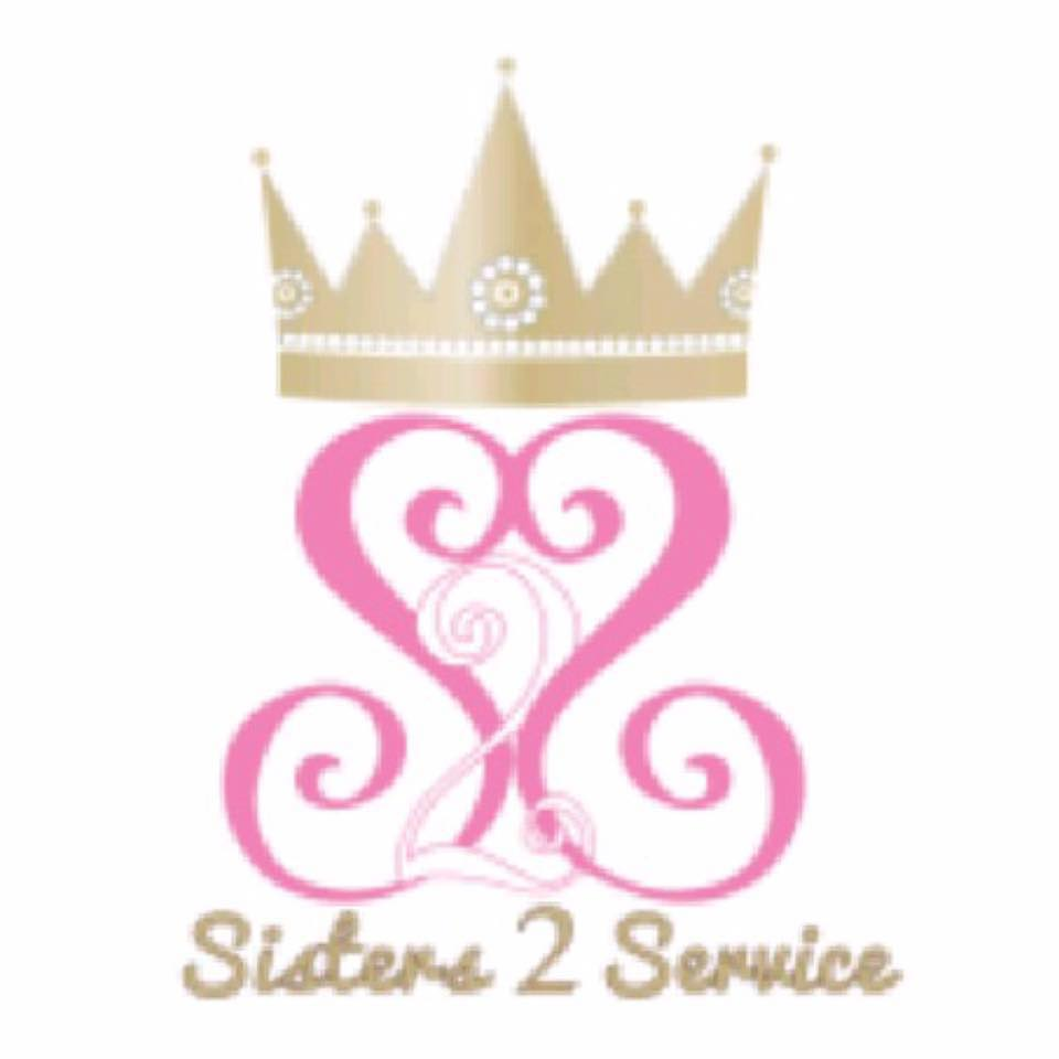 Crown graphic with two letter Ss facing each other with a 2 in the middle and Sisters 2 Service below it