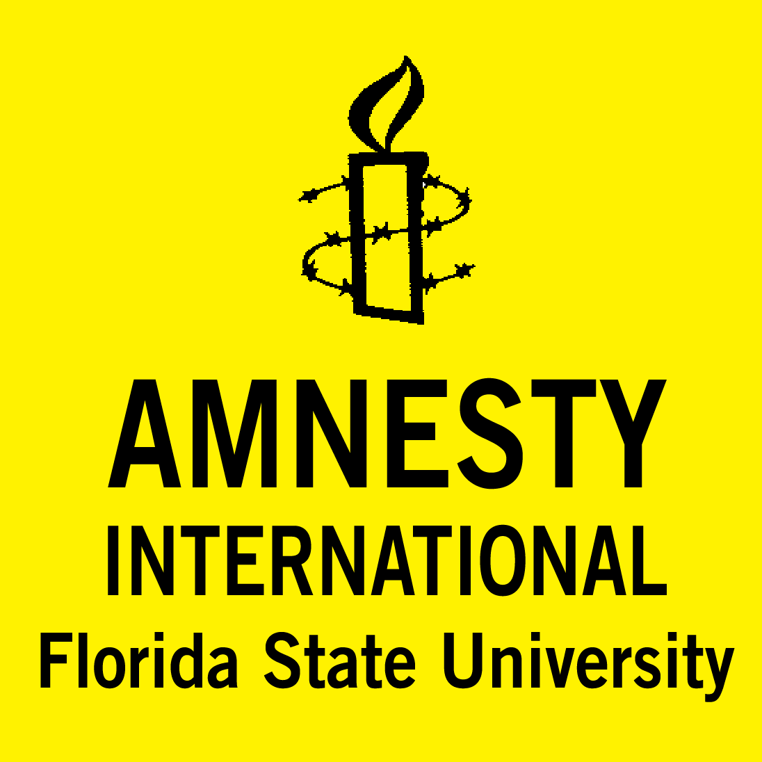 Candle with barbed wire around it and Amnesty International Florida State University below it