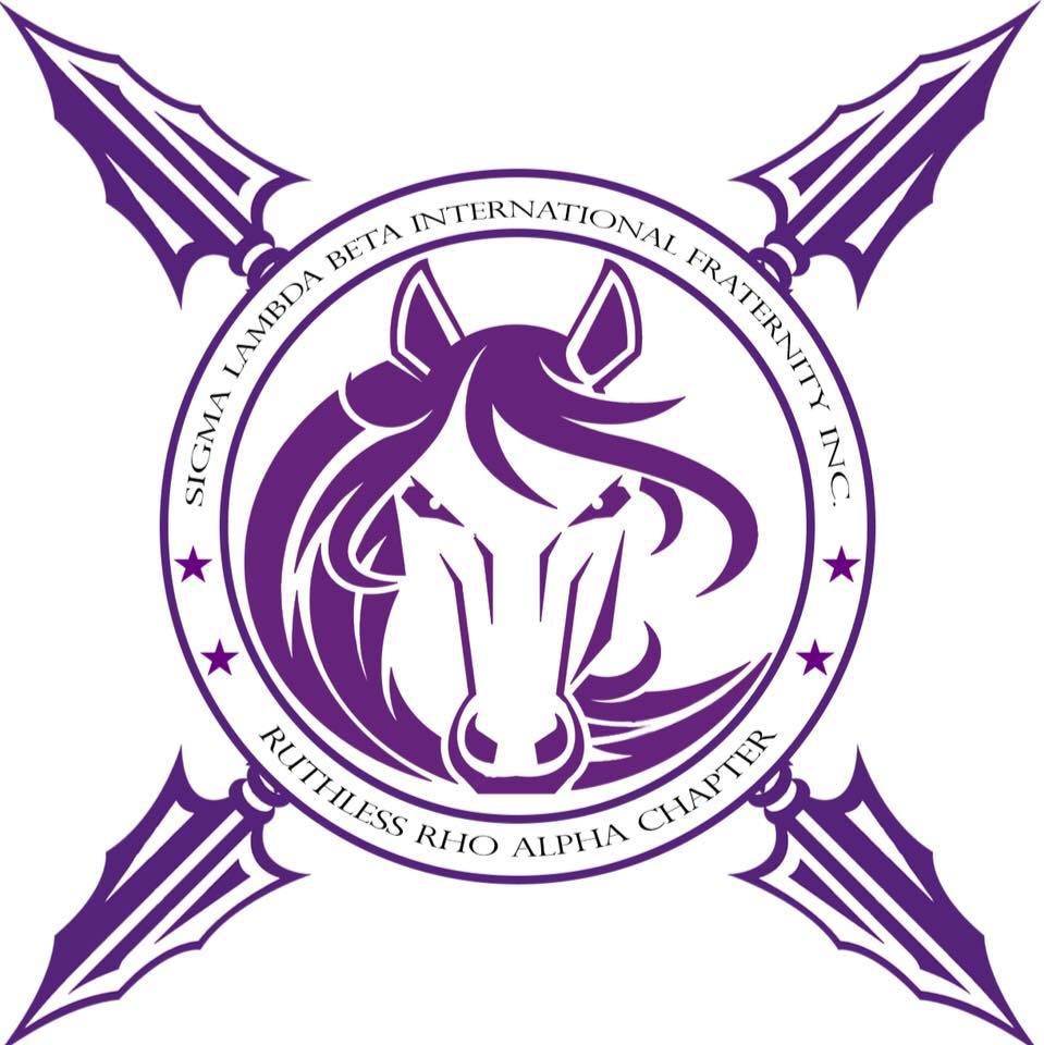 Round graphic with horse in the middle and a total of four spears coming out on each side with Sigma Lambda Beta International Fraternity, Inc. and Ruthless Rho Alpha Chapter above and below it