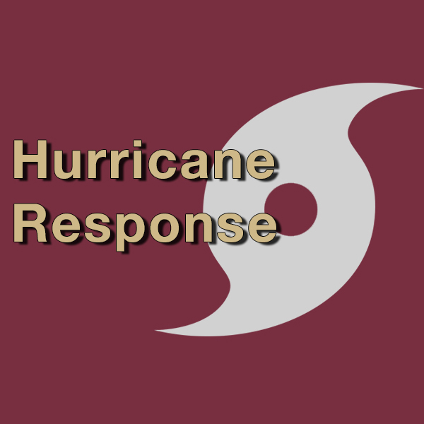 The words Hurricane Response superimposed over a hurricance symbol.