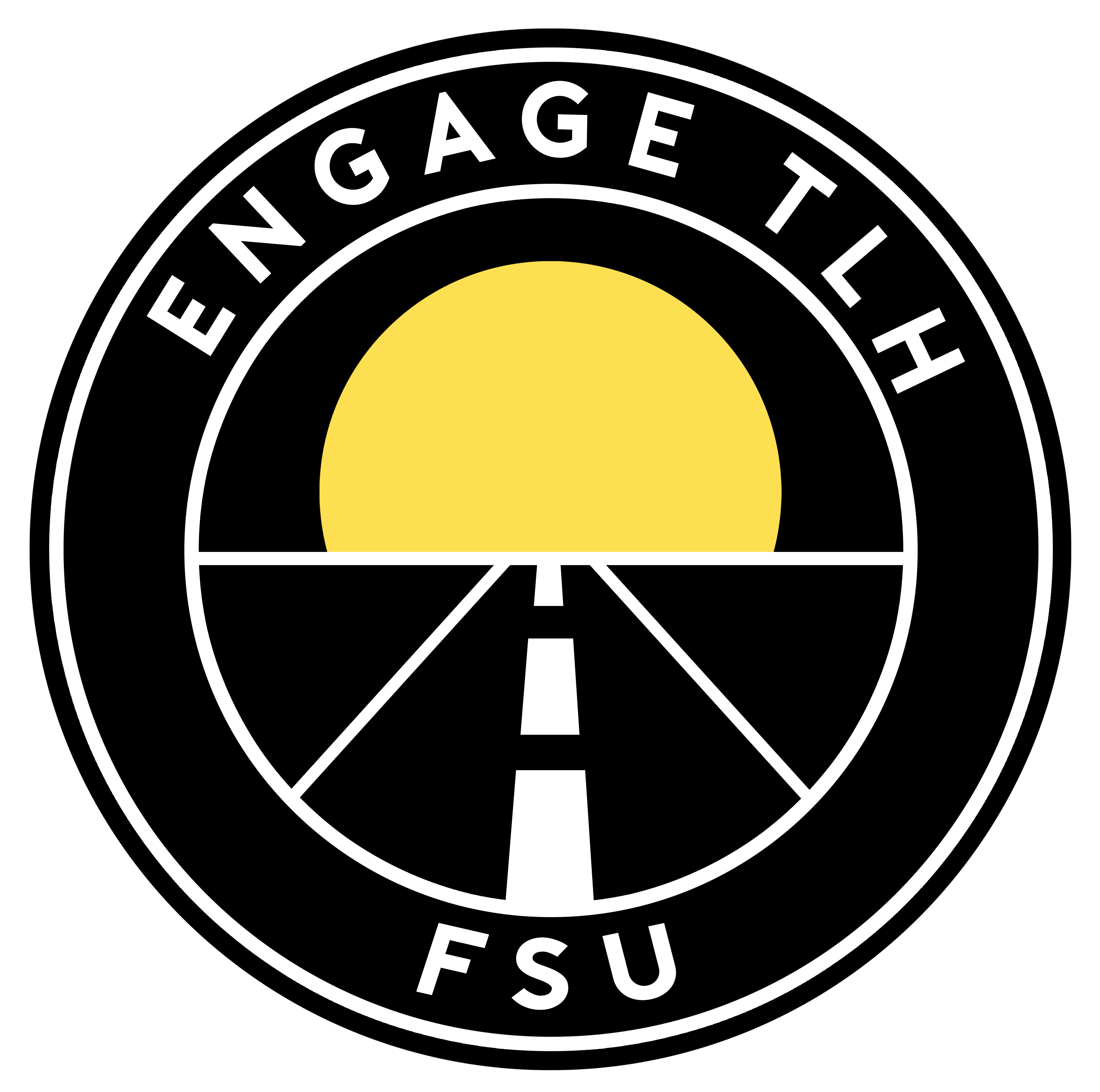 Circle graphic of a sunrise with a road stretching out towards it with the words EngageTLH and FSU above and below it