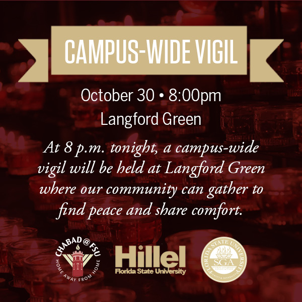 IMAGE: Campus-wide Vigil. October 30, 8 pm, Langford Green. At 8 p.m. tonight, a campus-wide vigil will be held at Langford Green where our community can gather to find peace and share comfort.