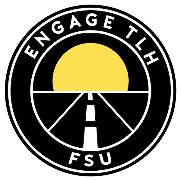 EngageTLH logo, including a black circle with a road vanishing into a sunset