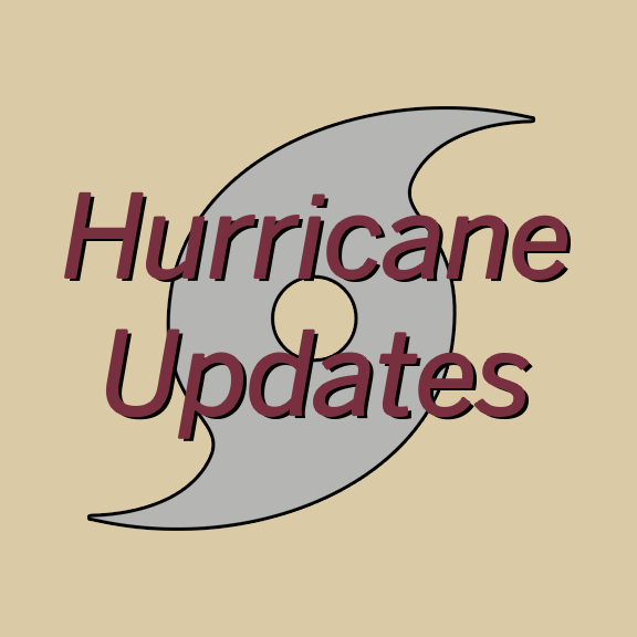 "IMAGE: The words ""Hurricane Updates"" superimposed over a hurricance symbol."