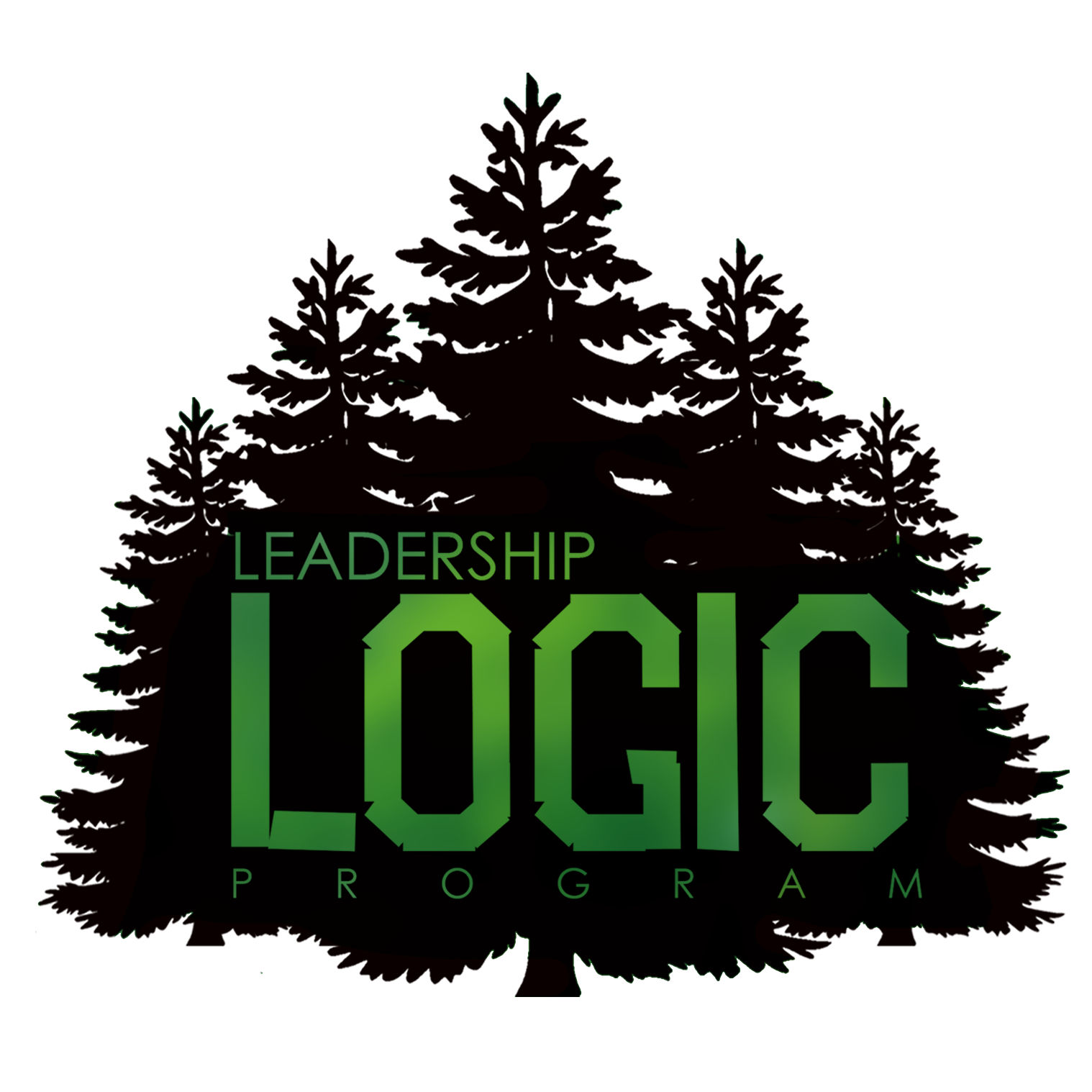 "A grouping of five pine trees with the words ""Leadership Logic"" displayed over them in green"