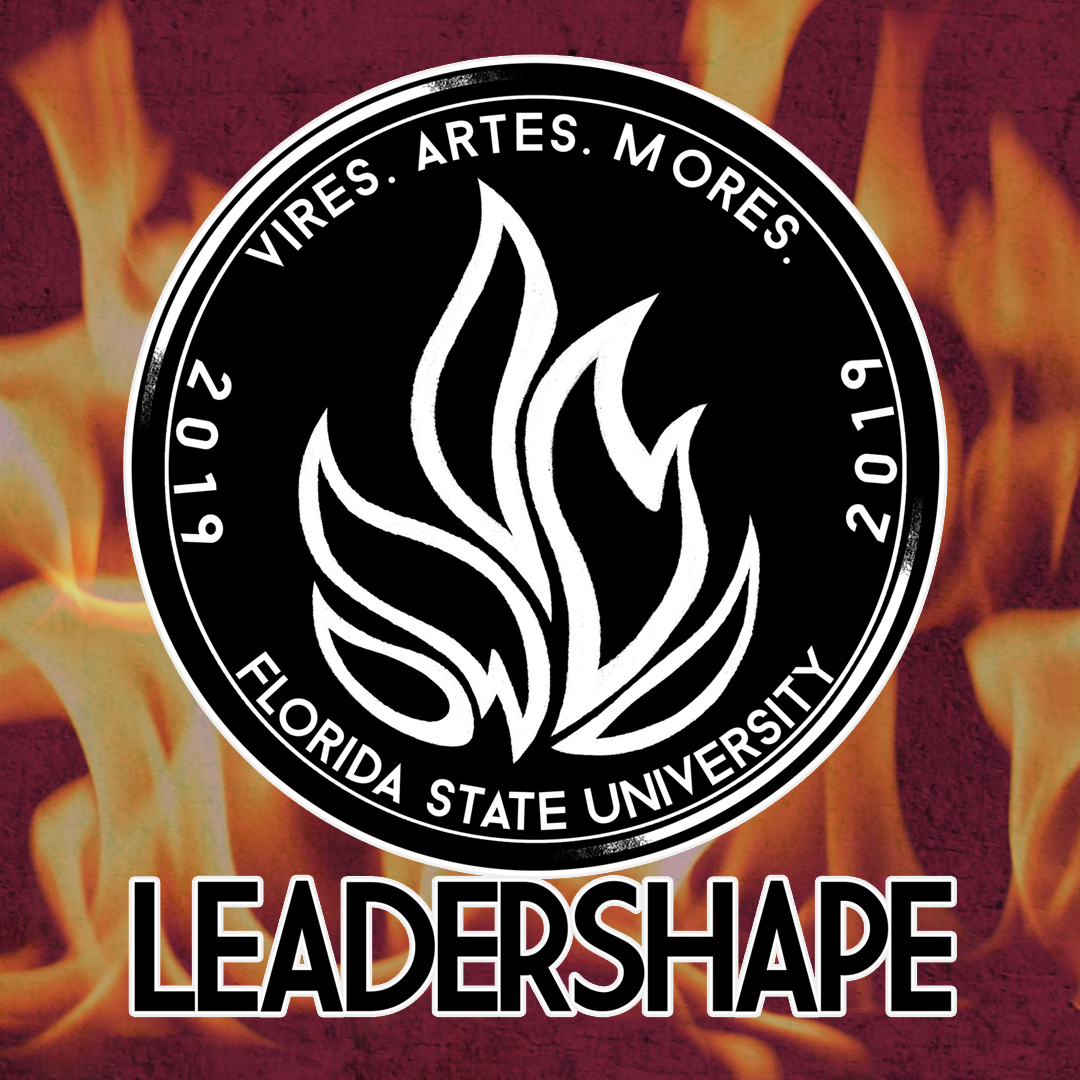 "Black circular logo with white outline of fire in the middle, with ""LeaderShape"" written in black below. Whole logo is set over color image of fire."