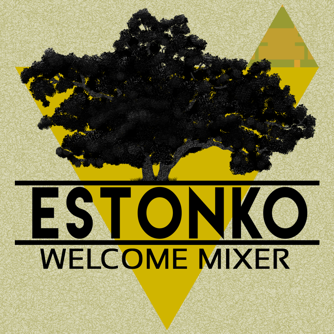 The image shows the logo for the Estonko Welcome Mixer, which has a large tree in front of a yellow triangle.