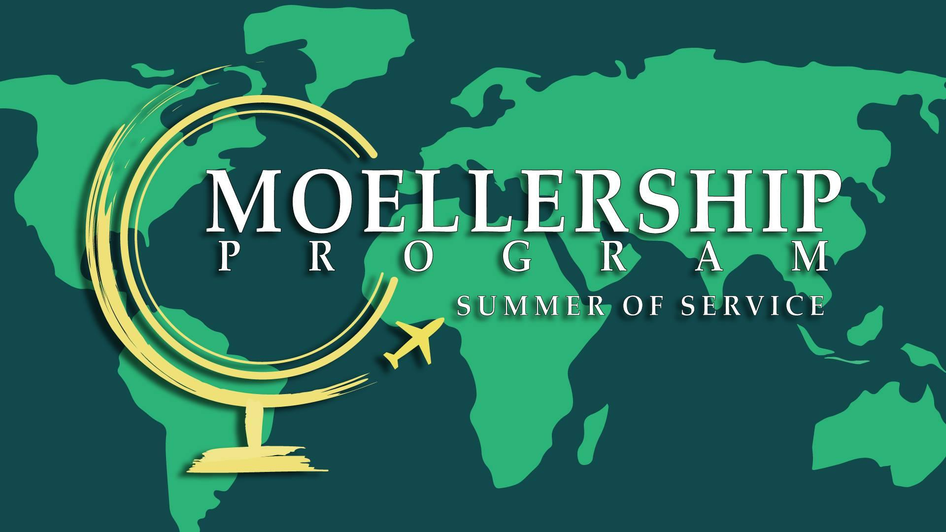 The photo is the logo for the Moellership program, which provides funding and support for students to engage in summer service projects.