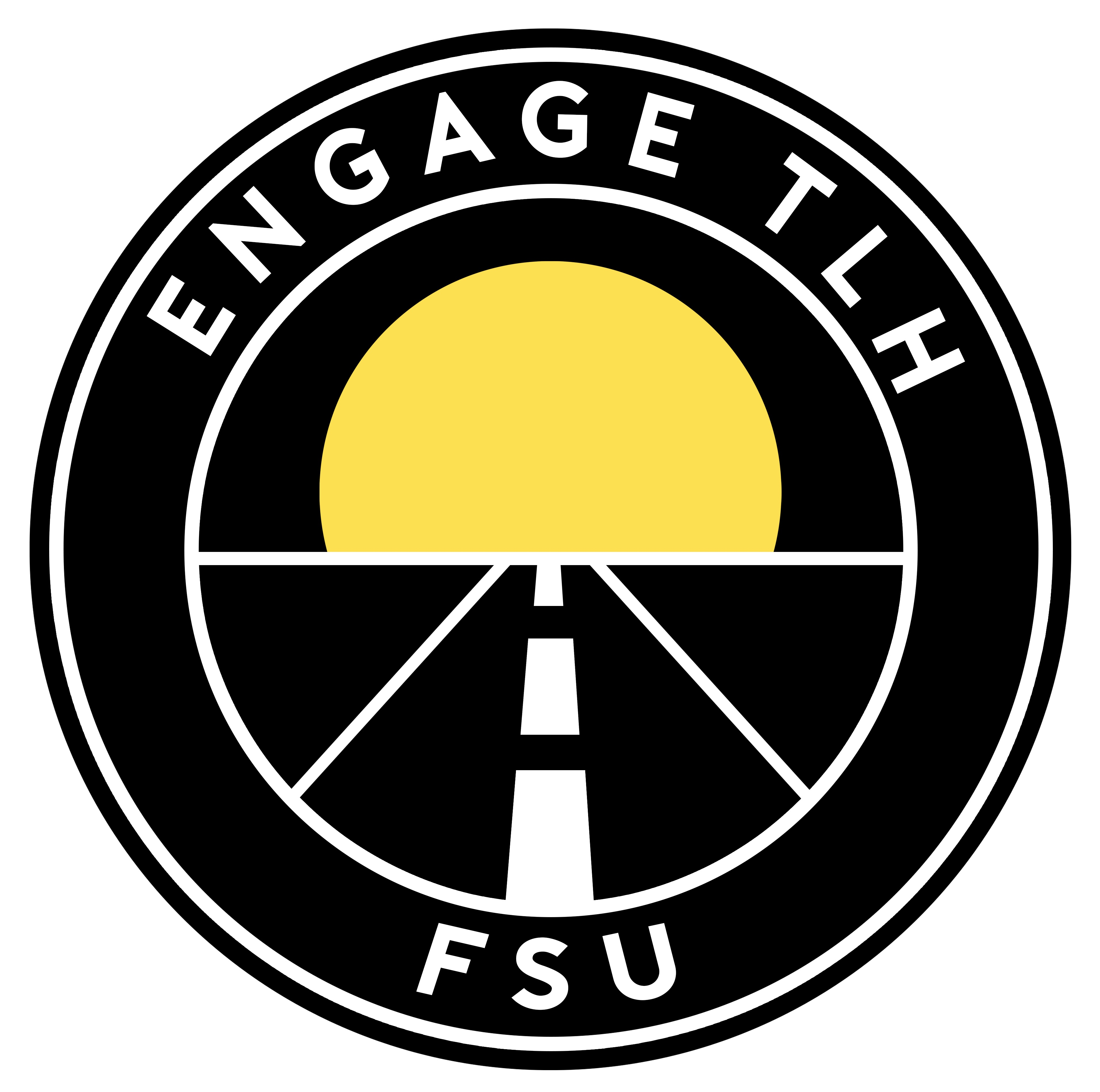 The image is the logo for Engage TLH at FSU, which depicts a two-lane road traveling toward the sun on the horizon