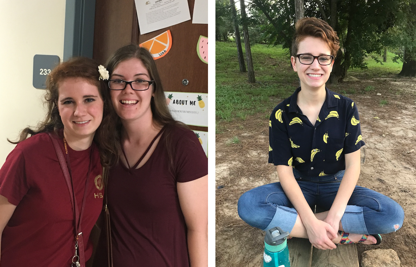 Two panels featuring Kendall McDonald, the first pictured with her roommate on move-in day her freshman year, and the second taken shortly before Kendall left Tallahassee for spring break.