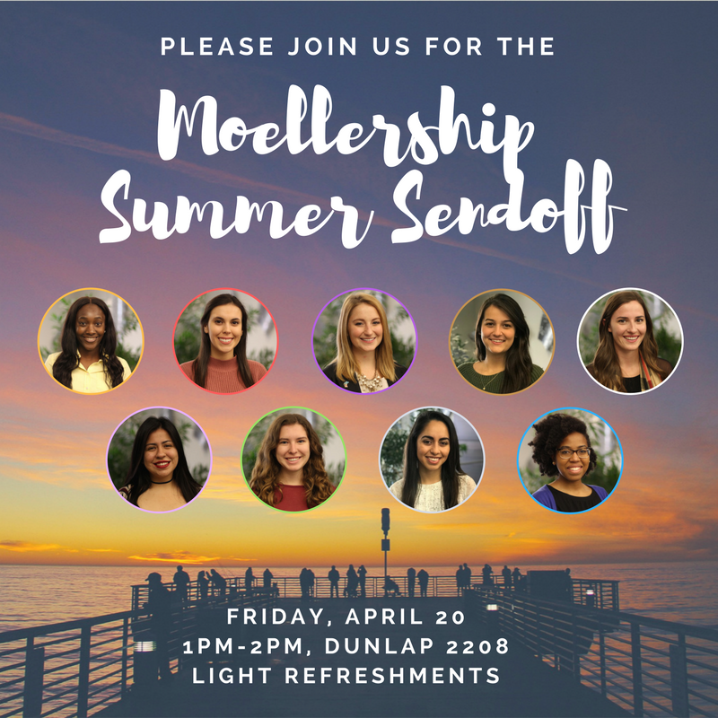 Graphic with photos of the 2018 Moellership cohort with the words Please join us for the Moellership Summer Sendoff