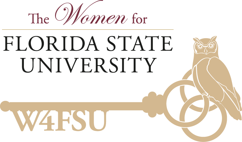 The Women for Florida State University. W4FSU on a key with an owl perched on top