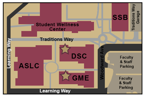 Map of the Center for Leadership and Social Change and surrounding buildings