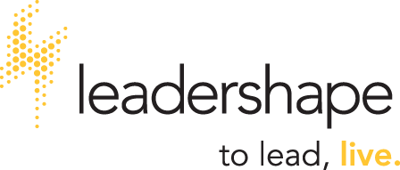 Lighting bolt and the words Leadershape: to lead, live. on the right side of it