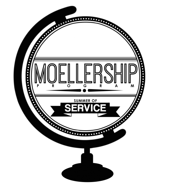 Graphic of a desktop globe with the words Moellership Program, Summer of Service inside it