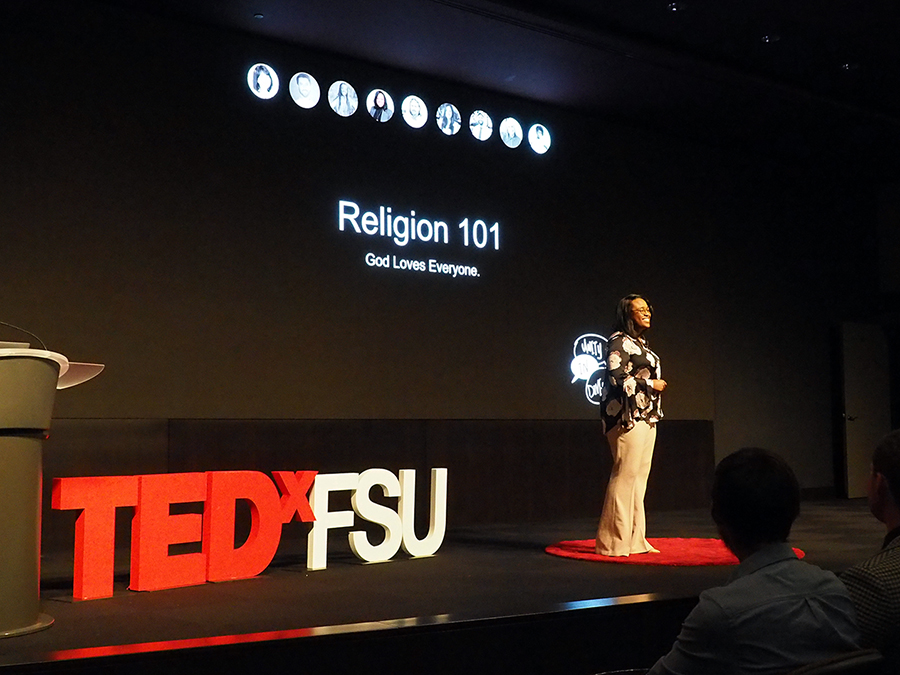 Kai Daniels, a Florida State graduate and former Service Scholar, talks about the intersection of her identities as a member of the LGBTQ community at TEDxFSU on March 23, 2018.
