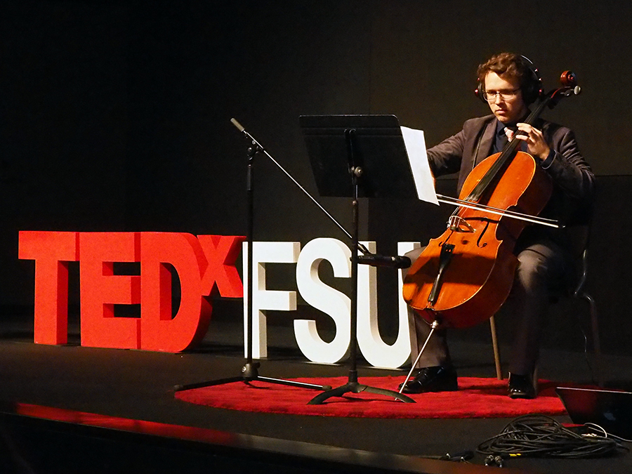 Josh Baerwald performs a piece he composed specifically for TEDxFSU on March 23, combining cello with electronic snippets of the day's talks.