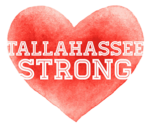 The words Tallahassee Strong over a heart background.