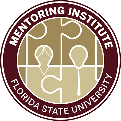Circle graphic of connected puzzle pieces with two of them being people and the words Mentoring Institute and Florida State University above and below it