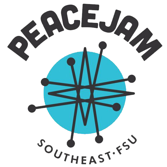 The word PeaceJam above a circle containing complex expanding lines with the words Southeast FSU below it