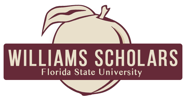 Peach graphic with the words Williams Scholars Florida State University in front of it inside a rectangle