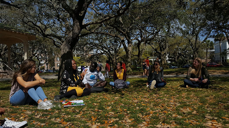 Students gathered on the grass in conversation.