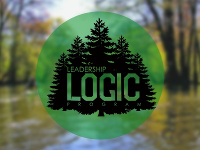 """LOGIC logo on a forest background"""
