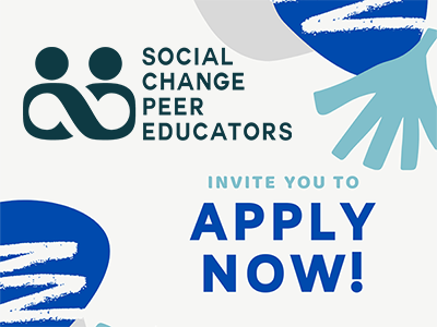 Graphic illustration with blue and teal geometric shapes and the social change peer educators logo. Test: SCPE invite you to apply now!