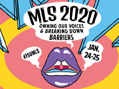 "IMAGE: Pop art-style mouth and sound waves on pink background surrounded by shattered glass. Speech bubble contains text ""MLS 2020: Owning Our Voices & Breaking Down Barriers"""