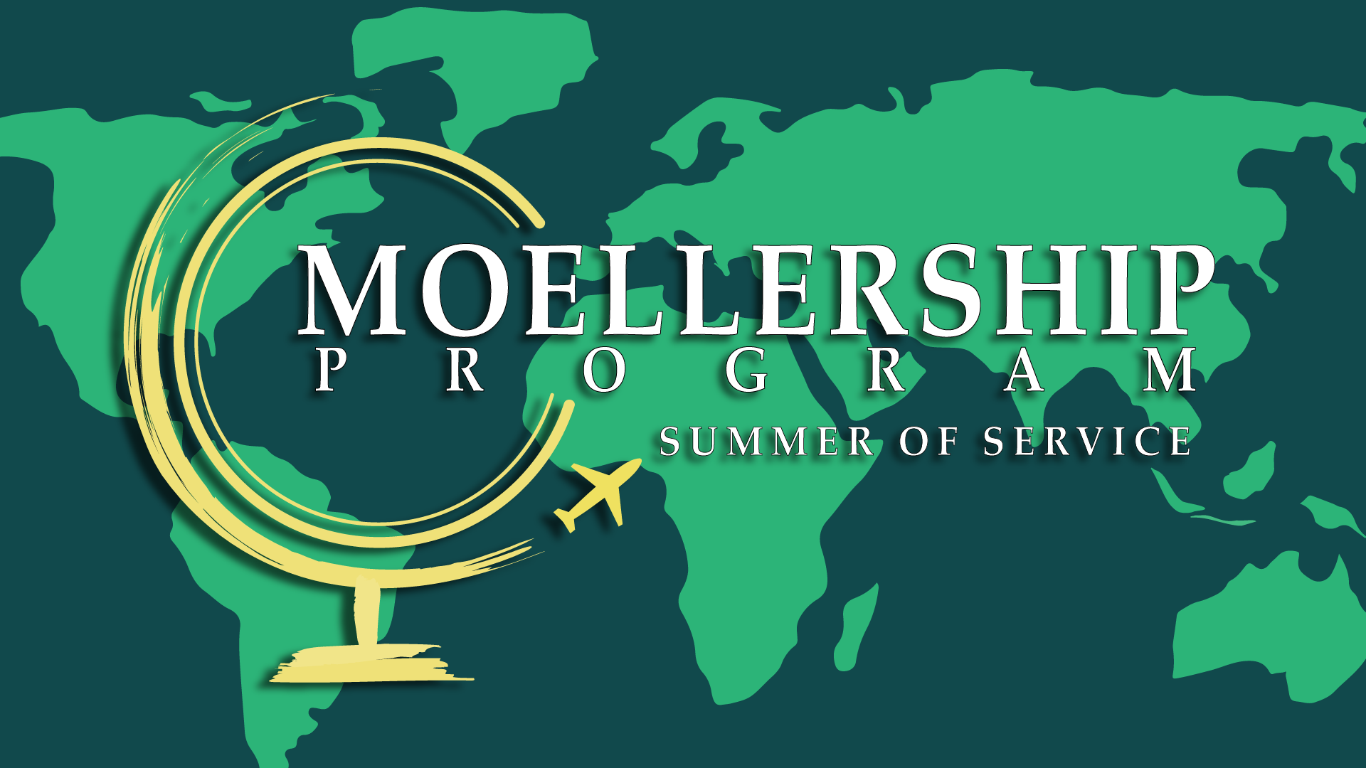 A graphic of a map with a globe icon on top with the words Mollership Program, Summer of Service