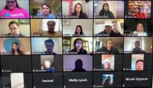 The author and others participate in a Zoom meeting connecting members of PeaceJam globally